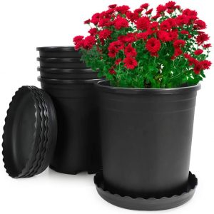 Flower Pots, Aloptower 5 Pack 1 Gallon Flexible Nursery Pot Plant Pots with Drainage Hole