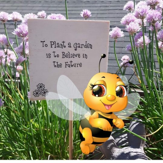 Bee with a sign in container garden says to plant a garden is to believe in the future