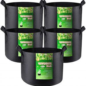 VIVOSUN 5-Pack 30 Gallons Heavy Duty Thickened Fabric Pots