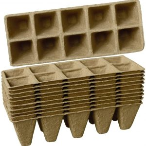 Sfee 10 Pack Seed Starter Tray 100 Cell Peat Pots Kits, Biodegradable Compostable