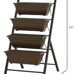 Outsunny 5-Tier Raised Garden Bed with Foldable Frame Planter Grow Containers